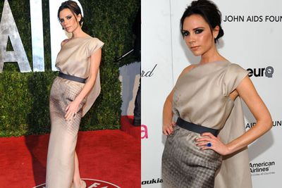 Woah! Victoria wowed the Vanity Fair crowd in silky neutrals at the 2010 Oscar after-party...and looks every bit the designer.<br/>