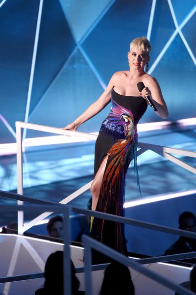 <p><strong>Look 3</strong></p> <p>Katy Perry in embroidered Roberto Cavalli at the MTV VMAs in LA. The host's winning dress of the evening.</p>