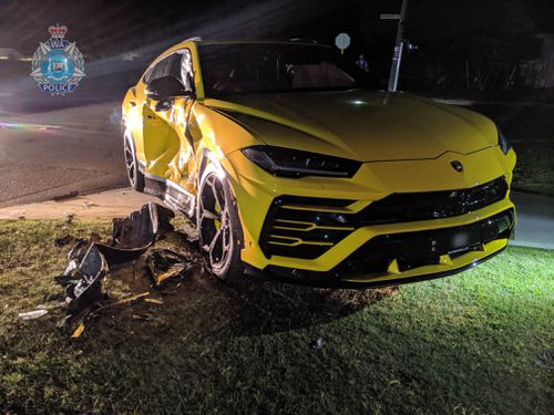 The 14-year-old crashed a stolen vehicle into a yellow Lamborghini.