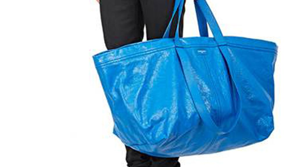 Balenciaga's leather version of the Ikea bag. Image: Barneys