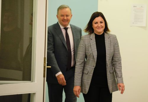 Opposition Leader Anthony Albanese and Kristy McBain who will run for preselection for the seat of Eden-Monaro, during a press conference at Parliament House in Canberra on Friday, 1 May 2020.