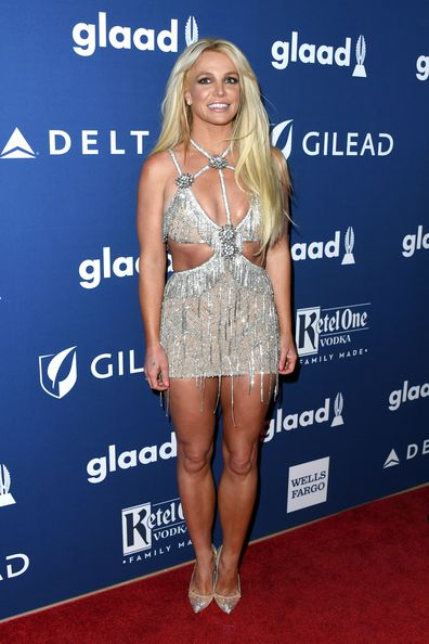 Britney Spears, transformation, photos, GLAAD Media Awards at The Beverly Hilton Hotel on April 12, 2018 in Beverly Hills, California