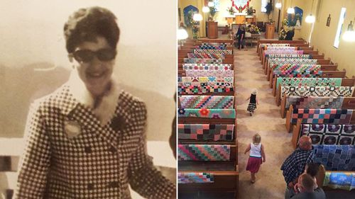 Mourning family hang grandma's cherished quilts on back of funeral pews