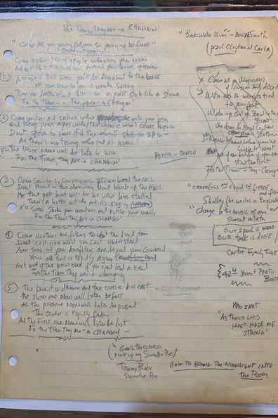 Bob Dylan song lyrics.