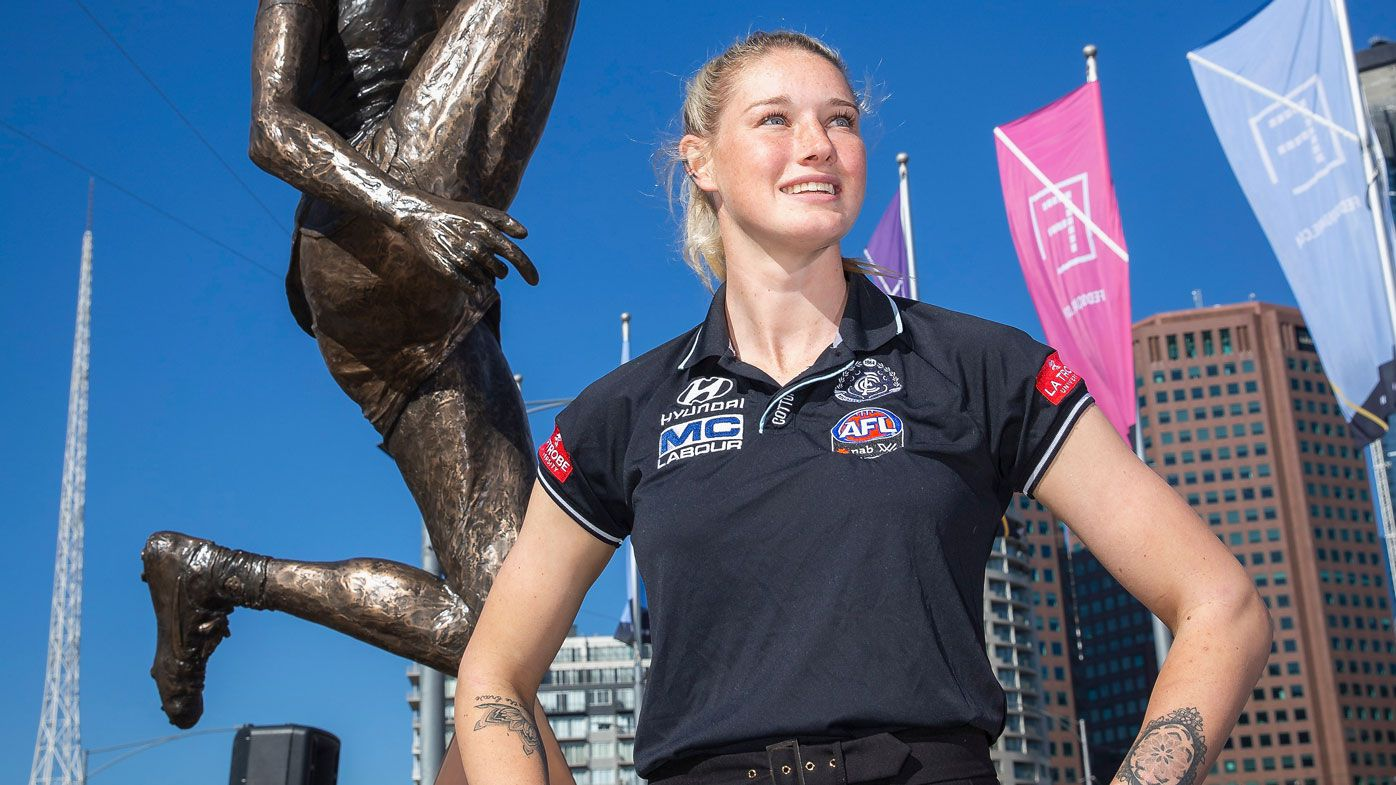 Tayla Harris attends her sculpture unveiling at Federation Square