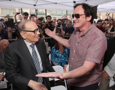 Composer Ennio Morricone and Quentin Tarantino attend The Hateful Eight's Ennio Morricone Star Ceremony On The Hollywood Walk Of Fame at Hollywood Walk Of Fame on February 26, 2016 in Hollywood, California.
