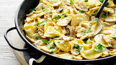 "<a href=""http://kitchen.nine.com.au/2017/04/03/15/54/creamy-mushroom-and-three-cheese-ravioli"" target=""_top"">Creamy mushroom and three-cheese ravioli</a><br /> <br /> <a href=""http://kitchen.nine.com.au/2016/06/06/21/47/vegetarian-favourites-for-meatfreemonday"" target=""_top"">More vegetarian recipes</a>"