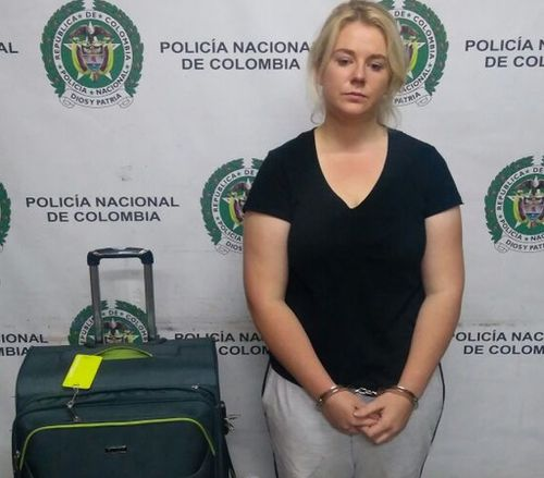 Ms Sainsbury was arrested at Bogota Airport. (Colombia National Police)