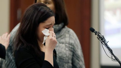 Gymnast Kaylee Lorincz gives her victim impact statement during the seventh day of Larry Nassar's sentencing hearing. (AAP)