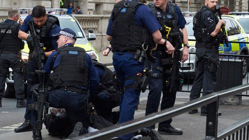 The suspect was held on the ground near London's Houses of Parliament. (AFP)