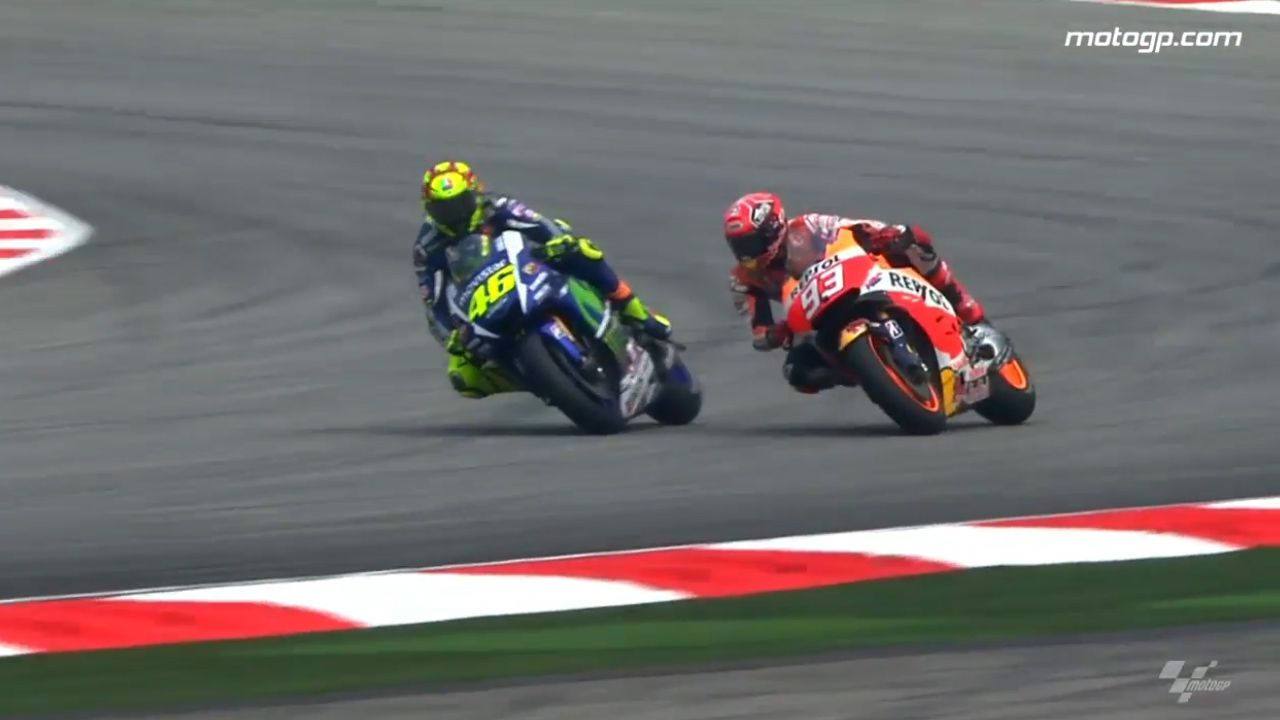 Rossi collides with Marquez