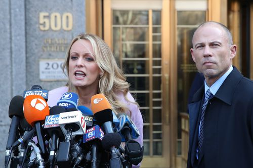 Stormy Daniels speaks to the media outside. Picture: AAP