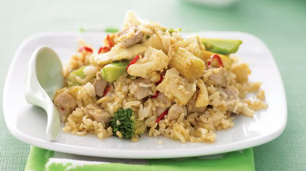 Fried rice with pork and vegetables
