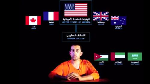Lt Kassasbeh is seen discussing coalition operations against ISIL, with flags including Australia's projected on the background.