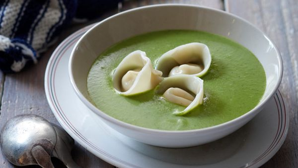 Pea & mint soup with goat cheese tortellini