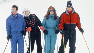 Prince Charles, Princess Diana, The Duchess of York Sarah Ferguson and The Duke of York Prince Andrew posing for photographers on their skiing holiday at the Swiss resort of Klosters. Wednesday 17th February 1987.