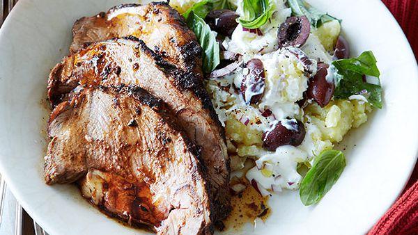 Boneless lamb shoulder roast with crushed kipflers