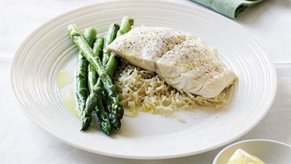 Blue-eye trevalla with lemon and fennel pilaf