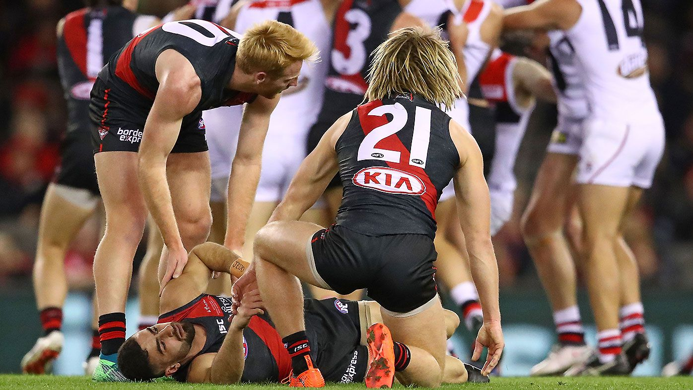 St Kilda defender Nathan Brown reported after late off-ball hit on Bomber speedster Adam Saad