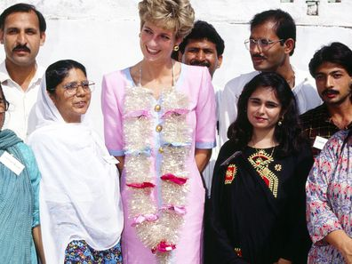 Diana, Princess of Wales, visiting the Family Welfare Centre at Noopur Shahan in Pakistan