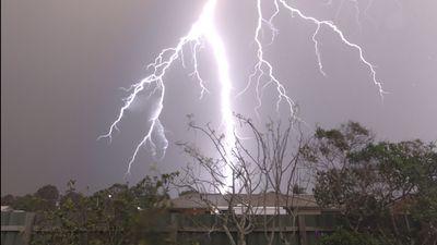A lighting strike in Bellmere, in the Moreton Bay Region. (Brian Houghton)