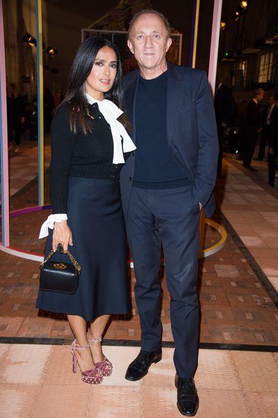 Salma Hayek and husband Francois-Henri Pinault at Alexander McQueen Spring/Summer '18