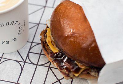 Chicken sausage breakfast burger