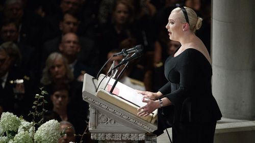 In her eulogy, Meghan McCain made jabs at President Trump, who was not invited to John McCain's memorial service inside Washington Cathedral.