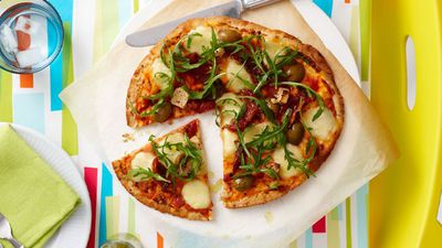 "Recipe: <a href=""http://kitchen.nine.com.au/2016/05/16/19/50/antipasto-pizza"" target=""_top"">Antipasto pizza</a>"