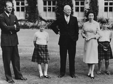 President Eisenhower (centre) with the British Royal family (L-R) Prince Philip, Princess Anne, HM Queen Elizabeth, Prince Charles and Captain John Eisenhower, at Balmoral Castle, Scotland, September 1959. (Photo by Fox Photos/Hulton Archive/Getty Images)