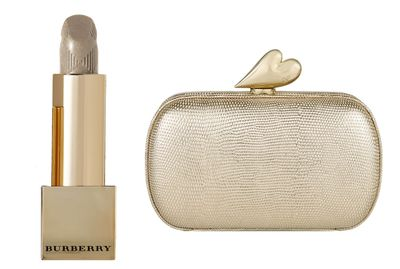 "<a href=""http://www.net-a-porter.com/au/en/product/655463/burberry_beauty/burberry-kisses---festive-gold-no-120"" target=""_blank"">Burberry Kisses in Festive Gold No. 120, $35, Burberry Beauty</a> and&nbsp;<a href=""http://www.net-a-porter.com/au/en/product/618550/diane_von_furstenberg/love-metallic-embossed-leather-clutch"" target=""_blank"">Clutch, $387, Diane Von Furstenberg at net-a-porter.com</a>."