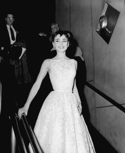 Audrey Hepburn wearing a Givenchy gown at the Academy Awards in 1954.