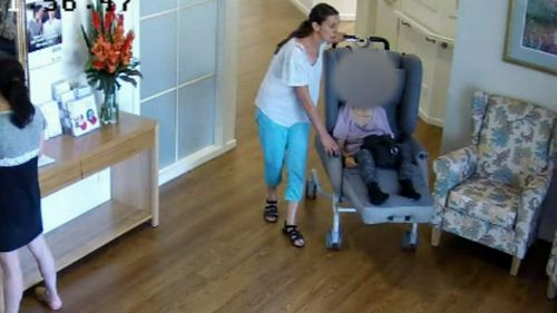 CCTV allegedly shows Ms Moschones wheeling away Dimitra Pavlopoulu.