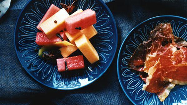 Pickled melon with serrano ham