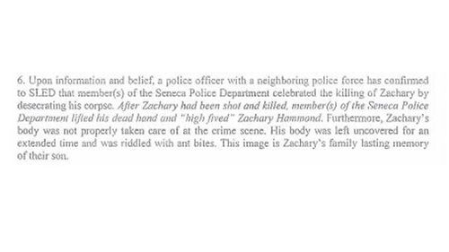 """A witness claims an officer """"desecrated"""" Hammond's body after his death. (Fox Carolina)"""