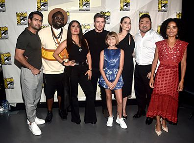 The Externals cast, Kumail Nanjiani, Brian Tyree Henry, Salma Hayek, Richard Madden, Lia McHugh, Angelina Jolie, Don Lee, Lauren Ridloff, Comic-Con.