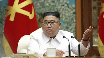 North Korean leader Kim Jong Un attends an emergency Politburo meeting in Pyongyang, North Korea.