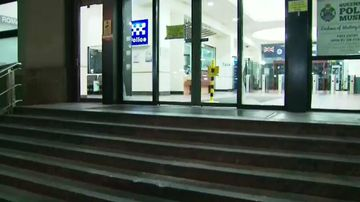 The stairs of the police headquarters in Roma were damaged. Picture: 9NEWS