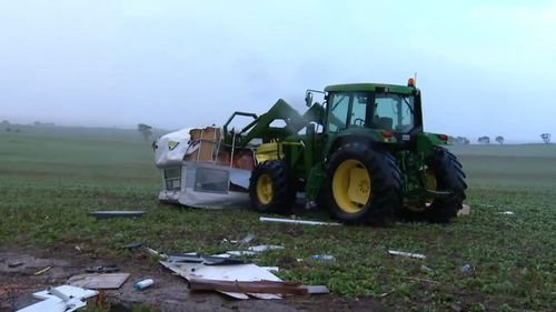A caravan was ripped from its trailer and strewn across a farm paddock in Callington.
