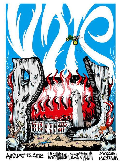 This artistic poster for their Missoula concert depicting the destruction of the White House has upset Republicans.