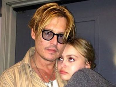 Lily Rose Depp, dad, Johnny Depp, hugging, selfie, Instagram