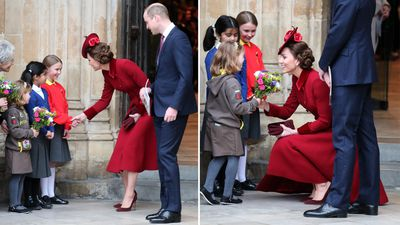 Kate Middleton and Prince William greet children, 2020