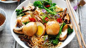 Tea eggs with Asian noodles