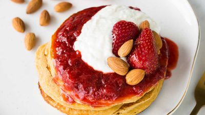 Almond pancakes with strawberry compote