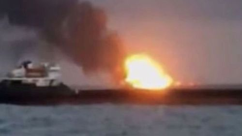 The fire aboard one ship spread to another vessel in the Kerch Strait, say Russian maritime chiefs.