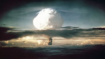The mushroom cloud caused by the Ivy Mike nuclear test in 1952.