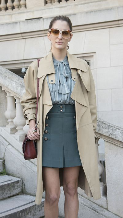 <p>Mini skirt</p>Work the '70s A-line trend by investing in a quality pair of opaque tights.<br />