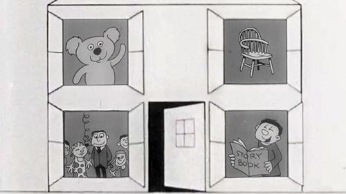 The Play School theme from 1967 featured the usual bears and chairs.