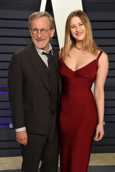 Steven Spielberg and daughter Destry Spielberg attend the 2019 Vanity Fair Oscar Party hosted by Radhika Jones at Wallis Annenberg Center for the Performing Arts on February 24, 2019 in Beverly Hills, California.