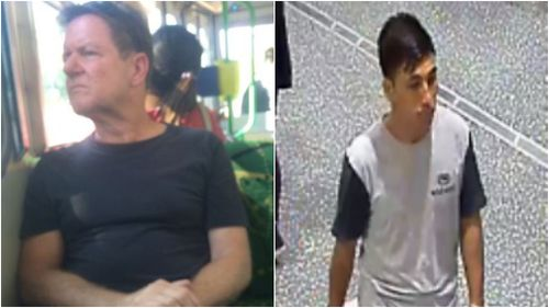 Police are searching for a man who exposed himself on a tram (left) and a man who assaulted a teen girl on a bus (right). (Victoria Police)